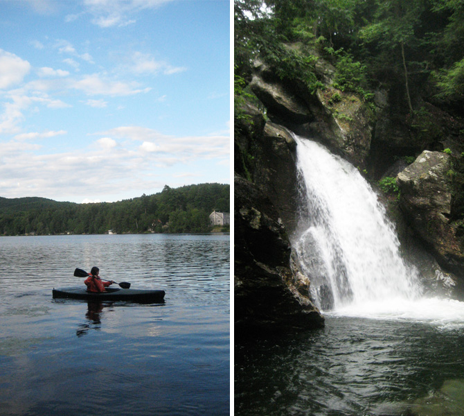 Kayaking and Bingham Falls in Vermont